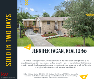 Sold in Two Days -- Jen Fagan