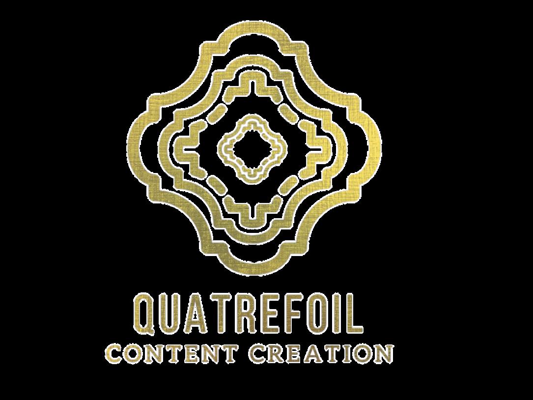 quatrefoil gold black logo